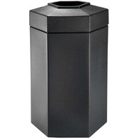 Commercial Zone 737501 PolyTec 50 Gallon Black Hexagonal Waste Container with Open Top