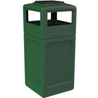 Commercial Zone 73305399 PolyTec 42 Gallon Green Waste Container and Ashtray Dome Lid Set