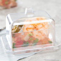 Fineline 6703-CL Tiny Temptations 3 oz. Clear Rectangular Tray with Lid   - 120/Case
