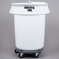 Rubbermaid Brute 32 Gallon / 510 Cup White Ingredient Storage Bin and Dolly Kit with Sliding Lid & Scoop