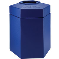Commercial Zone 737204 PolyTec 45 Gallon Blue Hexagonal Waste Container with Open Top
