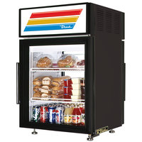 True GDM-5PT-LD Black Pass-Through Countertop Display Refrigerator with Swing Door