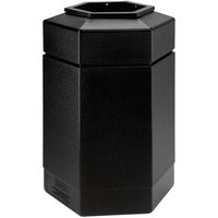 Commercial Zone 737101 PolyTec 30 Gallon Black Hexagonal Waste Container with Open Top