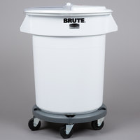 Rubbermaid Brute 20 Gallon / 320 Cup White Ingredient Storage Bin and Dolly Kit with Sliding Lid & Scoop