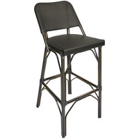 BFM Seating MS402BBLWB Mai Tai Walnut Aluminum Outdoor / Indoor Bar Height Chair with Black Textilene Back and Seat