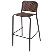 BFM Seating DV553MOBL Rio Black Stackable Aluminum Outdoor / Indoor Bar Height Chair with Mocha Synthetic Wicker Back and Seat