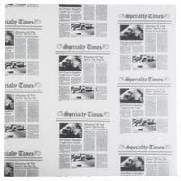 American Metalcraft PPCN1616 16 inch x 16 inch White Newspaper Print Deli Sandwich Wrap Paper - 1000 / Case