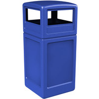 Commercial Zone 73290499 PolyTec 42 Gallon Blue Waste Container and Dome Lid Set