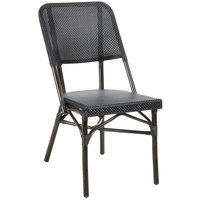 BFM Seating MS402CBLWB Mai Tai Walnut Stackable Aluminum Outdoor / Indoor Side Chair with Black Textilene Back and Seat