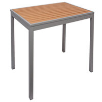 BFM Seating PH3232TKSVU4L Longport 32 inch Square Silver Aluminum Outdoor / Indoor Standard Height Table - Synthetic Teak