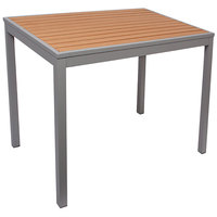 BFM Seating PH4L3535TKSV Longport 36 inch Square Silver Aluminum Outdoor / Indoor Standard Height Table - Synthetic Teak