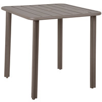 BFM Seating DVV3232ERU Vista 32 inch Square Earth Aluminum Outdoor / Indoor Standard Height Table with Umbrella Hole