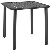 BFM Seating DVV3232BLU Vista 32 inch Square Black Aluminum Outdoor / Indoor Standard Height Table with Umbrella Hole