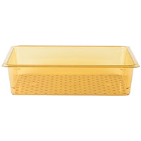 Cambro 15CLRHP150 H-Pan Full Size Amber High Heat Colander Pan - 5 inch Deep
