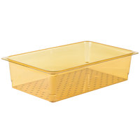 Cambro 15CLRHP150 H-Pan™ Full Size Amber High Heat Plastic Colander Pan - 5 inch Deep