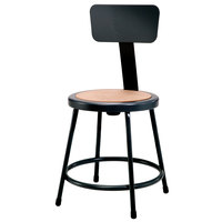 National Public Seating 6218B-10 18 inch Black Round Hardboard Lab Stool with Adjustable Backrest