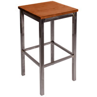 BFM Seating 2510BCHW-CL Trent Clear Coated Steel Bar Stool with Cherry Wooden Seat