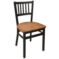 BFM Seating 2090CASH-SB Troy Sand Black Steel Side Chair with Autumn Ash Wooden Seat