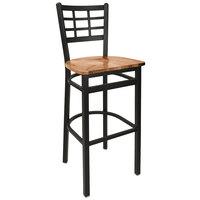 BFM Seating 2163BASH-SB Marietta Sand Black Steel Bar Height Chair with Autumn Ash Wooden Seat