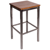 BFM Seating 2510BASH-CL Trent Sand Clear Coated Steel Bar Stool with Autumn Ash Wooden Seat