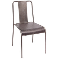 BFM Seating DV581GR-CL Tara W Clear Coated Stackable Steel Side Chair with Urban Gray Veneer Seat