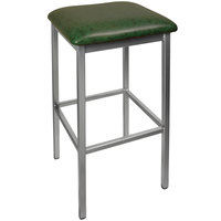 BFM Seating 2510BGNV-CL Trent Clear Coated Steel Bar Stool with 2 inch Green Vinyl Seat
