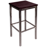 BFM Seating 2510BMHW-CL Trent Clear Coated Steel Bar Stool with Mahogany Wooden Seat
