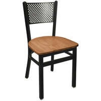 BFM Seating 2161CASH-SB Polk Sand Black Steel Side Chair with Autumn Ash Wooden Seat
