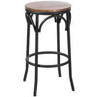 BFM Seating JS800BASH-SB Henry Sand Black Steel Bar Stool with Autumn Ash Wooden Seat