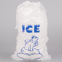 10 lb. Clear Plastic Drawstring Ice Bag with Polar Bear Graphic - 500/Case