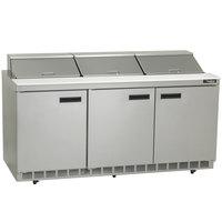 Delfield 4472N-18 72 inch 3 Door Refrigerated Sandwich Prep Table