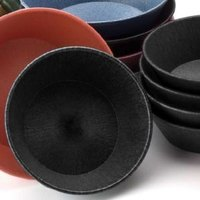 HS Inc. HS1012 8 inch x 2 1/4 inch Charcoal Polyethylene Round Basket - 24/Case