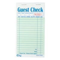 Choice 2 Part Green and White Carbonless Guest Check - 50 Books / Case