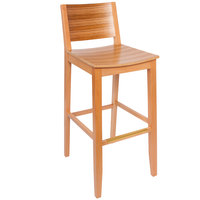 BFM Seating SWB306NT-TG Oxford Natural Colored Beechwood Bar Height Chair with Tigerwood Back and Seat