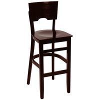 BFM Seating SWB304CW-CW Weston Classic Walnut Colored Beechwood Bar Height Chair