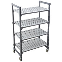Cambro EMU246070V4580 Camshelving® Elements Mobile Shelving Unit with 4 Vented Shelves - 24 inch x 60 inch x 70 inch