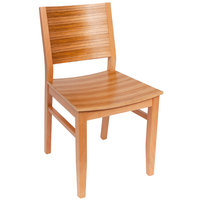 BFM Seating SWC306NT-TG Oxford Natural Colored Beechwood Side Chair with Tigerwood Back and Seat