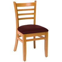BFM Seating LWC101NTBUV Burlington Natural Colored Beechwood Side Chair with 2 inch Burgundy Vinyl Seat