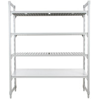 Cambro CPU187264VS4PKG Camshelving® Premium Stationary Starter Unit with 3 Vented Shelves and 1 Solid Shelf - 18 inch x 72 inch x 64 inch