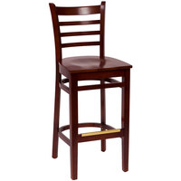 BFM Seating LWB101MHMHW Burlington Mahogany Colored Beechwood Bar Height Chair