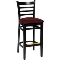 BFM Seating LWB101BLBUV Burlington Black Colored Beechwood Bar Height Chair with 2 inch Burgundy Vinyl Seat