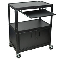 Luxor AVJ42XLKBC Adjustable Height Black A/V Cart with Keyboard Shelf and Locking Cabinet