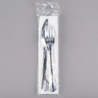 Silver Visions Individually Wrapped Silver Heavy Weight Plastic Cutlery Set with Napkin and Salt and Pepper Packets - 25/Pack