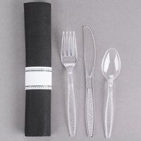 Visions 17 inch x 17 inch Black Pre-Rolled Linen-Feel Napkin and Clear Heavy Weight Plastic Cutlery Set - 100/Case