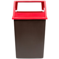 Rubbermaid Glutton 56 Gallon Brown Trash Can and Red Lid