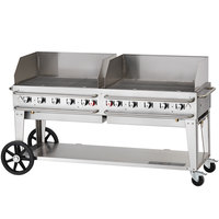 Crown Verity RCB-72WGP-SI-LP 72 inch Pro Series Outdoor Rental Grill with Single Gas Inlet and Wind Guard Package