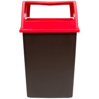 Rubbermaid Glutton 56 Gallon Brown Trash Can and Red Lid with Doors
