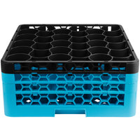 Carlisle RW30-2C OptiClean NeWave 30 Compartment Black Color-Coded Glass Rack with 3 Extenders