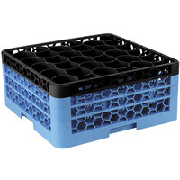 Carlisle RW30-2C OptiClean NeWave 30 Compartment Glass Rack with 3 Color-Coded Extenders - Black / Carlisle Blue