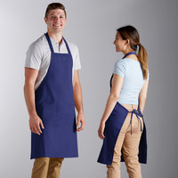 Choice Royal Blue Poly-Cotton Bib Apron with 2 Pockets - 34 inchL x 32 inchW